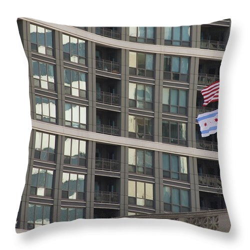 Chicago Windy City Metro Urban Building Windows Flag Reflection Throw Pillow featuring the photograph In Chicago by Andrei Shliakhau