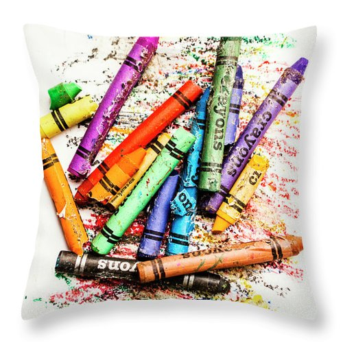 Crayon Throw Pillow featuring the photograph In Colours Of Broken Crayons by Jorgo Photography - Wall Art Gallery