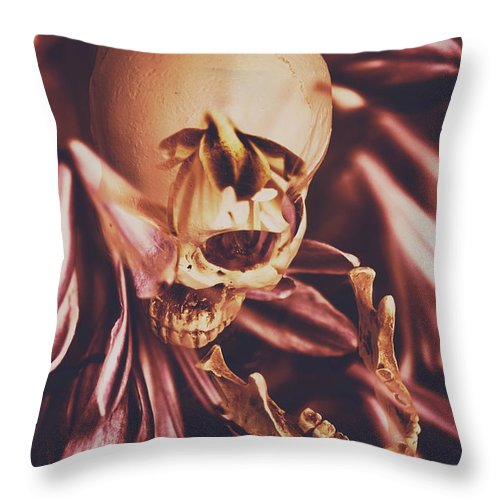 Skull Throw Pillow featuring the photograph In Contrasts Of Soul Growth by Jorgo Photography - Wall Art Gallery
