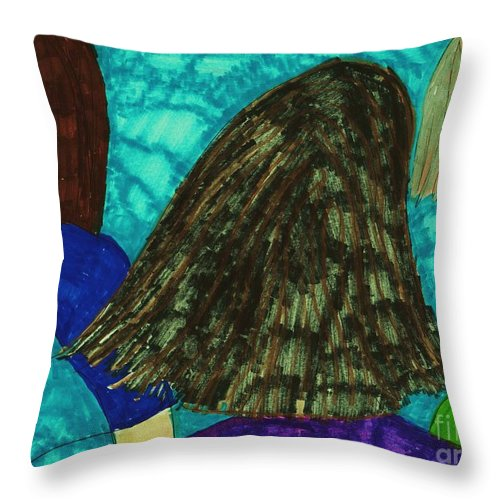 3 Ladies Talking Throw Pillow featuring the mixed media In Conversation by Elinor Helen Rakowski