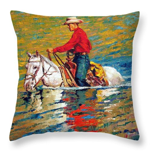 Cowboy Throw Pillow featuring the painting In Deep Water by John Lautermilch