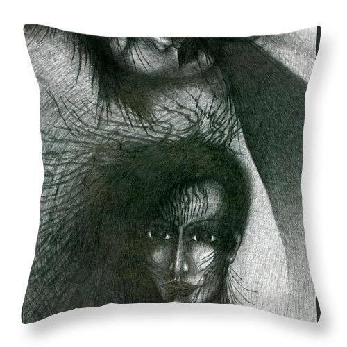 Psychedelic Throw Pillow featuring the drawing In Dream by Wojtek Kowalski