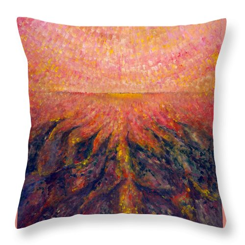 Colour Throw Pillow featuring the painting In Far Road by Wojtek Kowalski