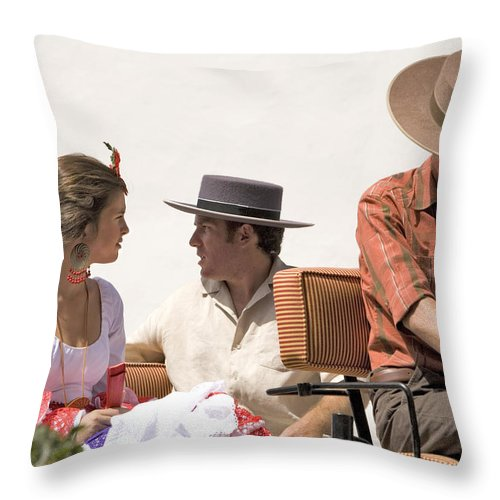Flamenco Throw Pillow featuring the photograph In Flamenco Dress For The Bullfight by Mal Bray