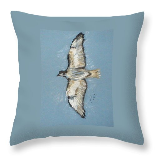Bird Throw Pillow featuring the drawing In Flight by Cori Solomon