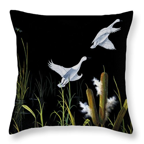 Birds Throw Pillow featuring the painting In Flight by Don Griffiths