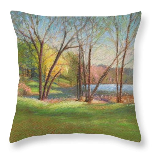 Mcgrath Throw Pillow featuring the painting In Just Spring At Plug by Leslie Alfred McGrath