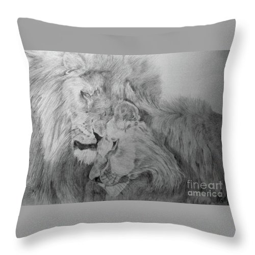 Lion Wild Cats Animals Drawing Paper Throw Pillow featuring the drawing In Love by Nadi Sabirova