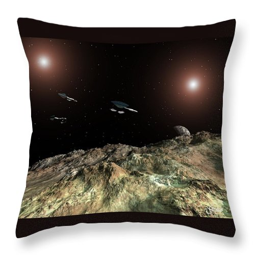 Space Throw Pillow featuring the digital art In Outer Space by Julie Grace