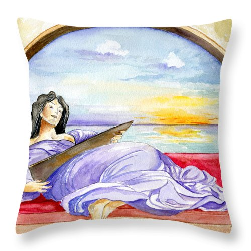 Landscape Woman Romantic Figure Window Sea Sky Throw Pillow featuring the painting In Paradisum by Brenda Owen