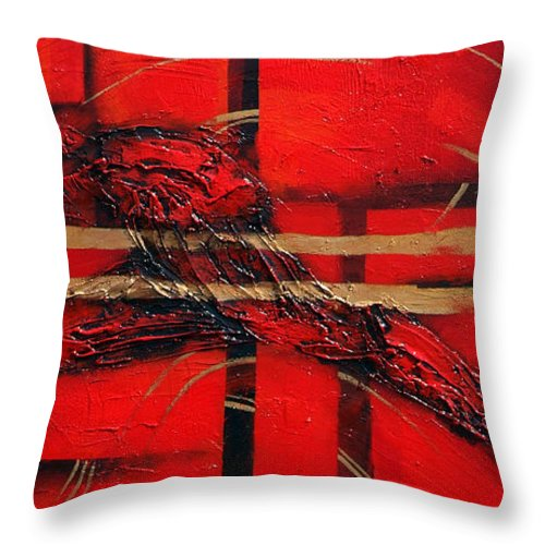 Abstract.red. Gold Throw Pillow featuring the painting In Red by Milda Aleknaite