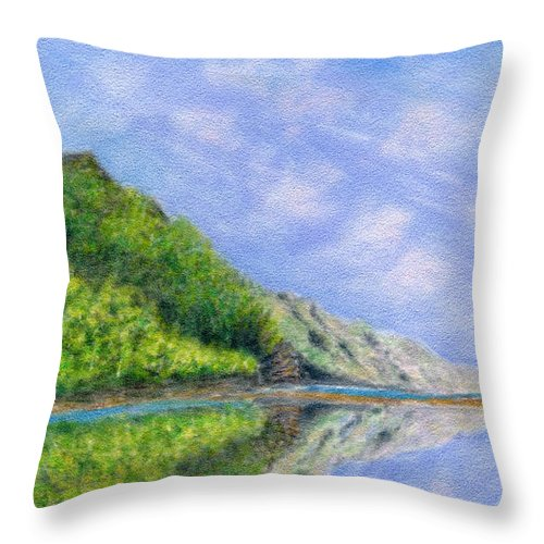 Rainbow Colors Pastel Throw Pillow featuring the painting In Reflection by Kenneth Grzesik
