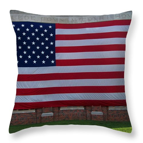 Flag Throw Pillow featuring the photograph In Remembrance by Julie Grace