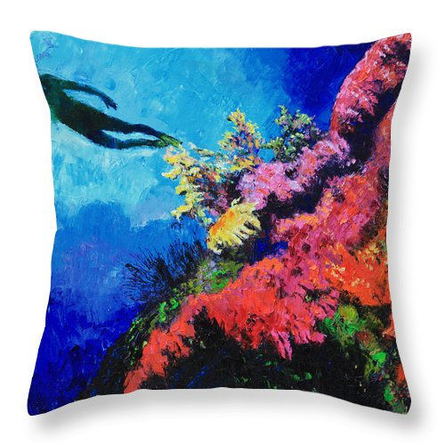 Scuba Diver Throw Pillow featuring the painting In Search Of The Creator by John Lautermilch