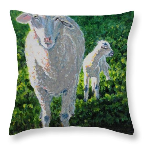 Sheep Throw Pillow featuring the painting In Sheep's Clothing by Karen Ilari