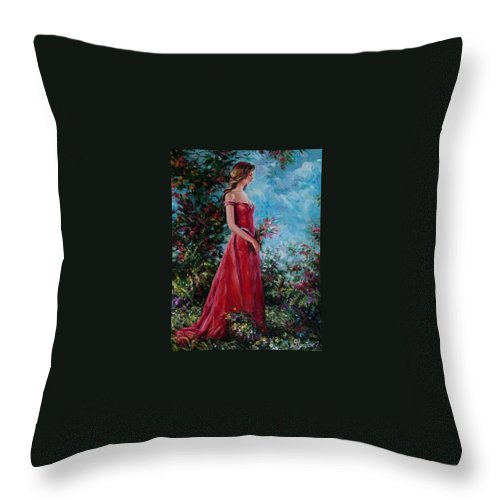 Figurative Throw Pillow featuring the painting In summer garden by Sergey Ignatenko