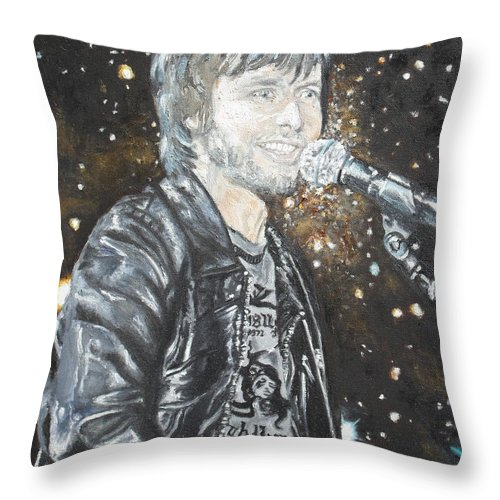 Portrait Throw Pillow featuring the painting In Syncron by Agnes V