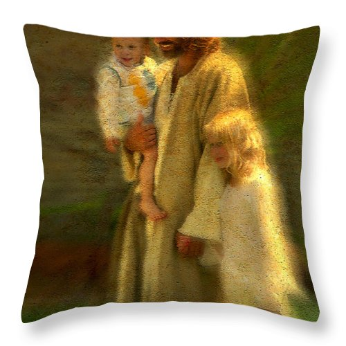 Jesus Throw Pillow featuring the painting In the Arms of His Love by Greg Olsen