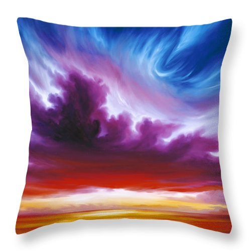 Sunrise; Sunset; Power; Glory; Cloudscape; Skyscape; Purple; Red; Blue; Stunning; Landscape; James C. Hill; James Christopher Hill; Jameshillgallery.com; Ocean; Lakes; Genesis; Creation; Quantom; Singularity Throw Pillow featuring the painting In The Beginning by James Christopher Hill