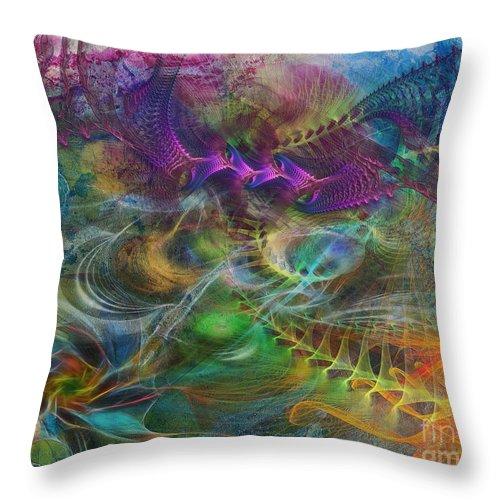 In The Beginning Throw Pillow featuring the digital art In The Beginning by John Robert Beck