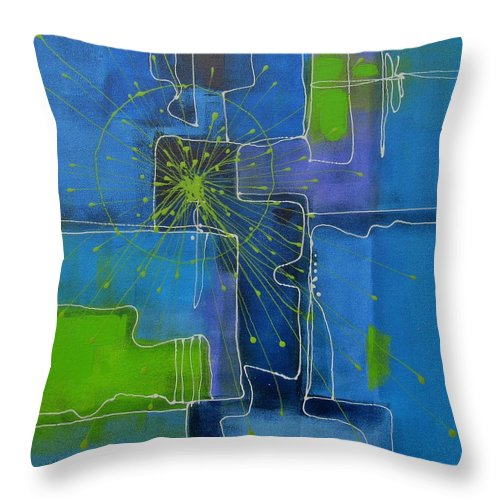 Abstract Throw Pillow featuring the painting In The Beginning by Louise Adams
