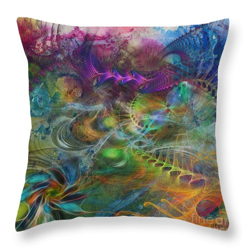 Affordable Art Throw Pillow featuring the digital art In The Beginning - Square Version by John Robert Beck