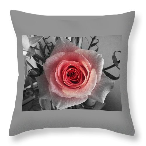Rose Red Blackandwhite Throw Pillow featuring the photograph In The Center by Luciana Seymour