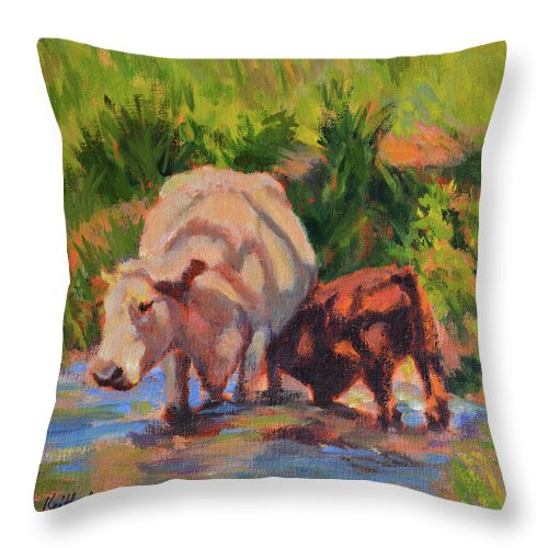 Impressionism Throw Pillow featuring the painting In The Creek by Keith Burgess