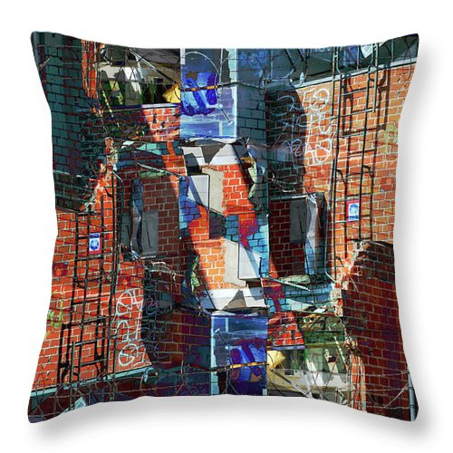 Abstract Throw Pillow featuring the digital art In The Down Town by Bill Jonas