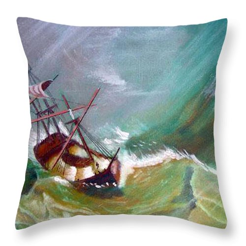 Sailing Ship Throw Pillow featuring the painting In The Eye Of The Storm by Richard Le Page