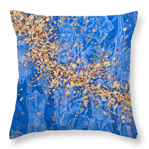 Waterfall Throw Pillow featuring the painting In the Falls by Judy Henninger