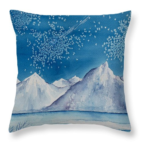 Watercol.or Scenery Landscape Fantasy Ice Snow Cold Winter Mountains Frozen Throw Pillow featuring the painting In The Far North by Brenda Owen