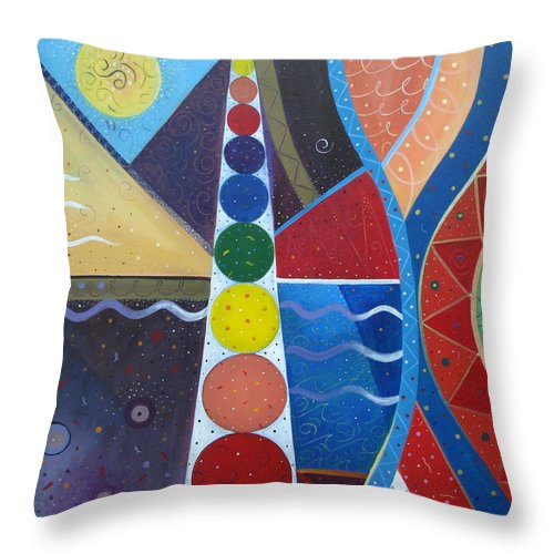 Abstract Landscape Throw Pillow featuring the painting In The Flow by Helena Tiainen