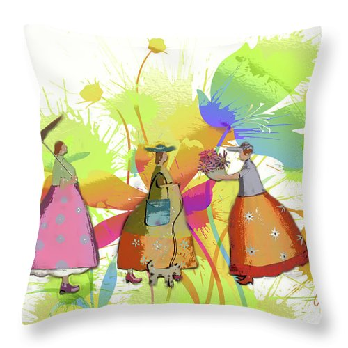 Flower Throw Pillow featuring the digital art In The Garden by Arline Wagner