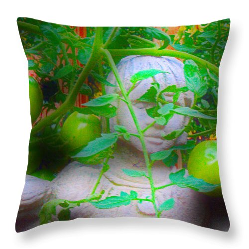 Statues Throw Pillow featuring the photograph In The Garden by David Campbell
