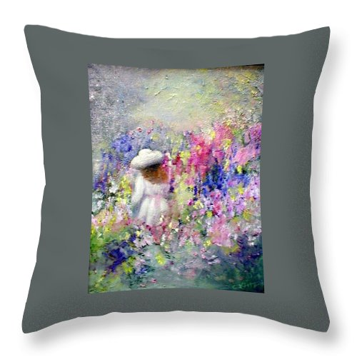 Impressionism Throw Pillow featuring the painting In The Garden by Gail Kirtz