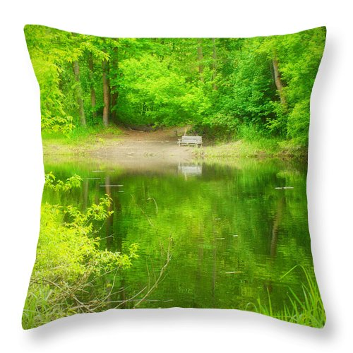 Bench Throw Pillow featuring the photograph In The Green by Tara Turner
