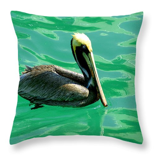 Pelican Throw Pillow featuring the photograph In The Green Zone by Susanne Van Hulst