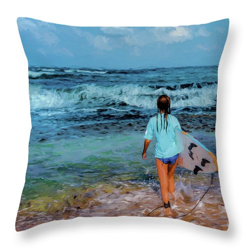 Women Throw Pillow featuring the digital art In The Hope Of A Big Wave by Benjamin Gelman