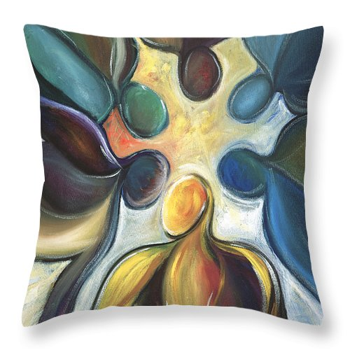 Atlanta Falcons Throw Pillow featuring the painting In The Huddle by Kristye Addison Dudley