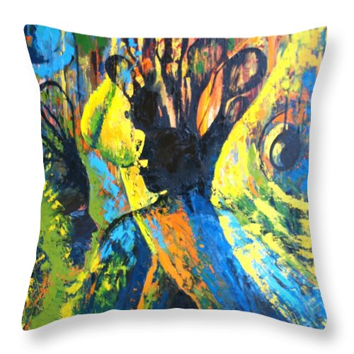 Abstract Throw Pillow featuring the painting In The Image Of God by Sony Ejiro Akpotor