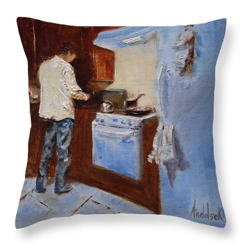 Cooking Throw Pillow featuring the painting In The Kitchen by Barbara Andolsek