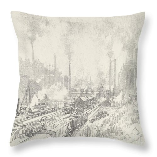 Throw Pillow featuring the drawing In The Land Of Iron And Steel by Joseph Pennell