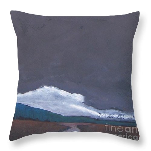 Landscape Throw Pillow featuring the painting In Light Of The Clouds by Vesna Antic