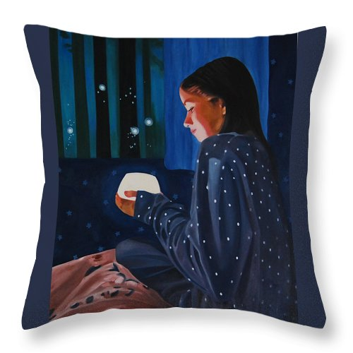 Girl Holding A Lamp And Fireflies Nightscape Throw Pillow featuring the painting In The Light by Veronica Maldonado