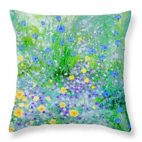 Florals Throw Pillow featuring the painting In The Meadow by Linda Rauch