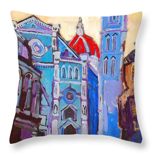 Florence Throw Pillow featuring the painting In The Middle Of by Kurt Hausmann