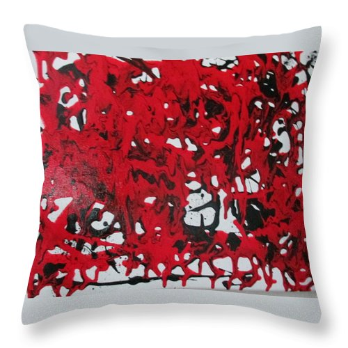 Bold Powerful Passion Love Emotion Transcendence Red Black Throw Pillow featuring the painting In The Midst Of Passion by Sharyn Winters