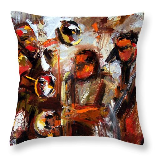 Jazz Art Throw Pillow featuring the painting In The Moment by Debra Hurd