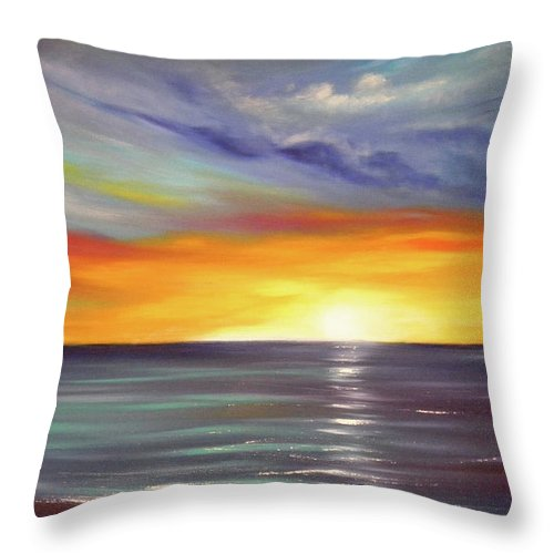 Brown Throw Pillow featuring the painting In The Moment by Gina De Gorna
